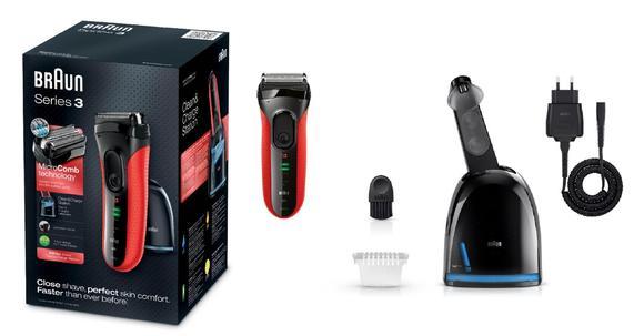 Braun Series 3-3050 elektromos borotva. Clean   Charge tisztító- és  töltőállomás 1x CCR tisztító patron. Tisztító kefe 75ef72cf52